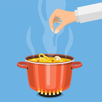 Pan on the fire, a pot of soup,