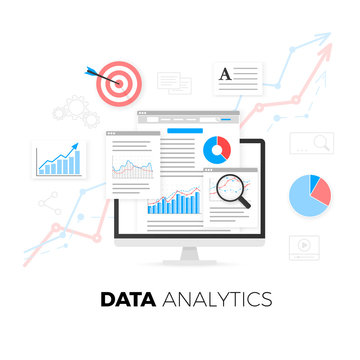 Data analytics information and web development website statistic. Vector illustration