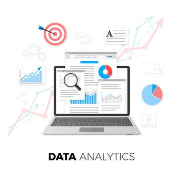 Data analytics concept. SEO optimization. Search Engine Optimization. SEO content marketing. Web analytics design. Vector illustration isolated on white background