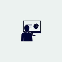 presentation icon, vector illustration. flat icon