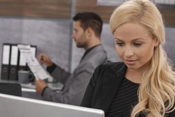Closeup portrait of blonde businesswoman