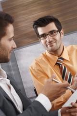 Closeup portrait of working businessmen