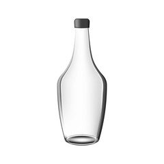 Vector glass alcohol cognac bottle with shadow