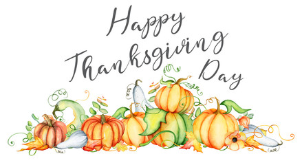 Watercolor pumpkin and autumn leaves card. Harvest composition. Happy Thanksgiving day. Hand drawn vector illustration