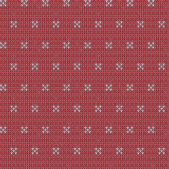 Knitted seamless pattern background. Sweater vector illustration. Red color. Knitwear design.