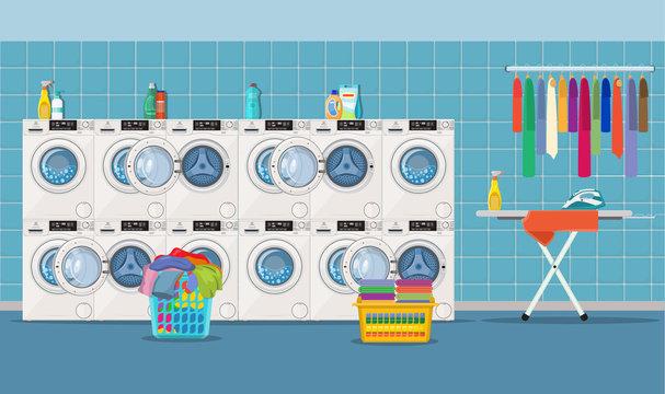 Laundry room interior with washing machine,