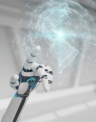 White cyborg hand using planet Earth interface 3D rendering