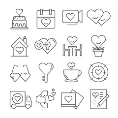 wedding icons thin line style on white background