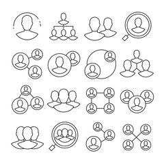 people network icons thin line on white background