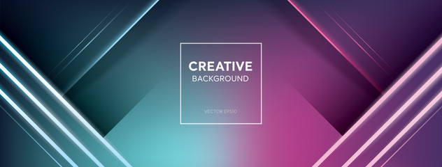 Modern vivid colorful turquoise and pink neon light banner background