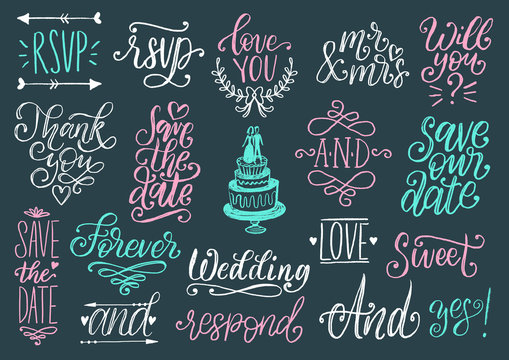 Drawn wedding set of laurels, rings, flowers, hearts etc.Vector handwritten phrases collection Save The Date, RSVP, Love