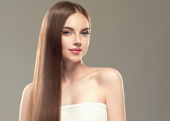 Beautiful long hair smooth woman with perfect hairstyle young model