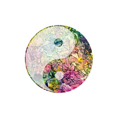 Colorful watercolor yin and yang symbol on white.