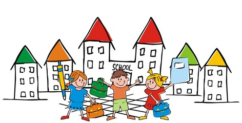 Back to school, school children with bags pen and workbook front the school, vector funny illustration