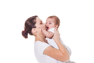 Mother holding her child on a white background