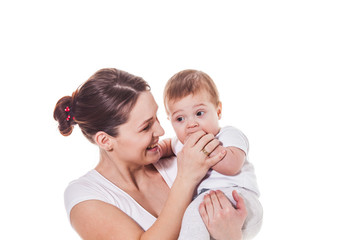 Happy Mother and Baby isolated on white