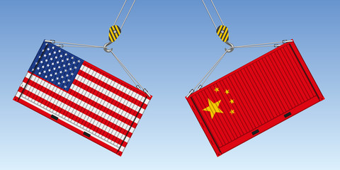 Illustration du choc entre deux conteneurs de marchandise, symbole de la guerre commerciale entre les États-Unis et la Chine.