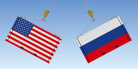 Illustration du choc entre deux conteneurs de marchandises, symbole de la guerre commerciale entre les États-Unis et la Russie.