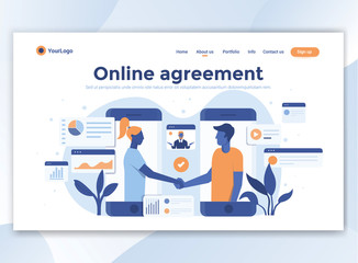 Flat Modern design of wesite template - Online agreement