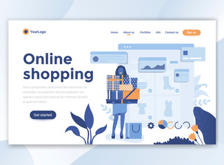 Flat Modern design of wesite template - Online shopping