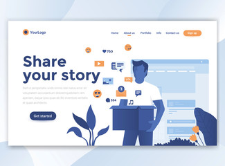 Flat Modern design of wesite template - Share your story