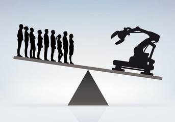 Concurrence et remplacement de l'homme par la machine en entreprise, pour un meilleur rendement.