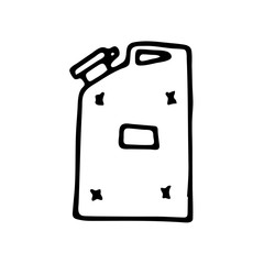 Hand drawn gasoline jerrycan, canister doodle icon. Hand drawn black sketch. Sign symbol. Decoration element. White background. Isolated. Flat design. Vector illustration