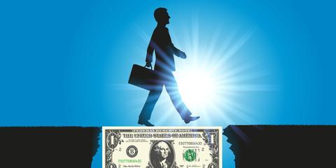 Concept d'un billet de 1 dollar qui sert de pont à un homme d'affaire pour atteindre son objectif