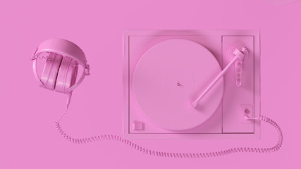Pink Vintage Turntable Record Player with Headphones 3d illustration 3d render