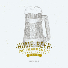 Beer logo template. Vector hand drawn beer mug illustration. Vintage style design. Can be use for brewery company, beer house, pub, cafe, beer restaurant.