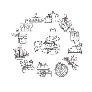 Vector set of linear cartoon icons for Thanksgiving.