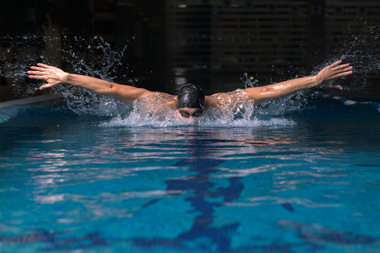 training in the pool with a coach