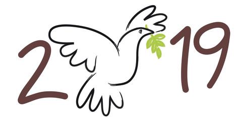 Carte de vœux 2019 symbolisant la paix, avec le dessin d'une colombe portant une branche d'olivier