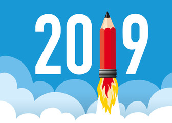 Illustration d'une fusée en forme de crayon qui décolle en symbolisant l'énergie et la volonté d'une entreprise pour réussir et atteindre ses objectifs de l'année 2019