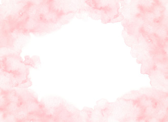 Hand painted pink watercolor border texture with soft edges isolated on the white background. Backdrop frame usable for cards and wedding invitations design in loose style.