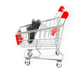 Cart for supermarket with isolated background