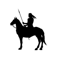 Black silhouette of indian on horse. Isolated image of western rider with spear. American landscape
