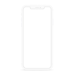 vector drawing modern smart phone, white flat phone design white screen