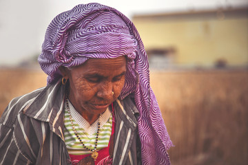 potrait of  old Indian woman working in farm