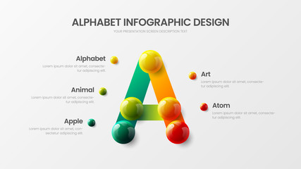 Amazing vector alphabet infographic 3D realistic colorful balls presentation. Creative bright multicolor character design illustration layout. Modern art symbol graphics visualization template.