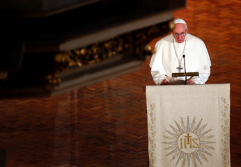 Pope Francis speaks during an ecumenical church service at the Riga Dome Cathedral in Riga