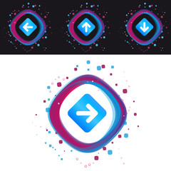 Arrow Right, Left, Up, Down Icons - Modern Colorful Vector Illustration - Isolated On Black And White Background