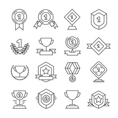 award and prize icons set line style