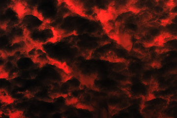 Red and black cloudy sky, background texture