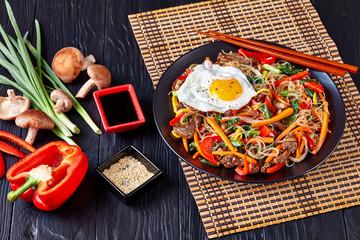 korean Japchae: dangmyeon, beef and vegetables