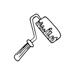 Hand drawn paint roller doodle icon. Hand drawn black sketch. Sign symbol. Decoration element. White background. Isolated. Flat design. Vector illustration