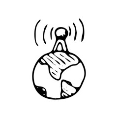 Hand drawn antenna on the planet doodle icon. Hand drawn black sketch. Sign symbol. Decoration element. White background. Isolated. Flat design. Vector illustration