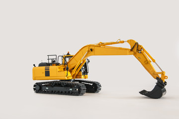 Excavator loader model on  isolated white background