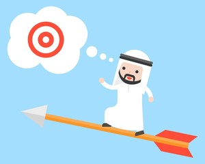 Arab saudi businessman stand on flying arrow searching for target