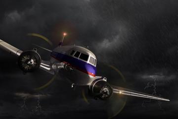 Airplane Dakota in the storm.